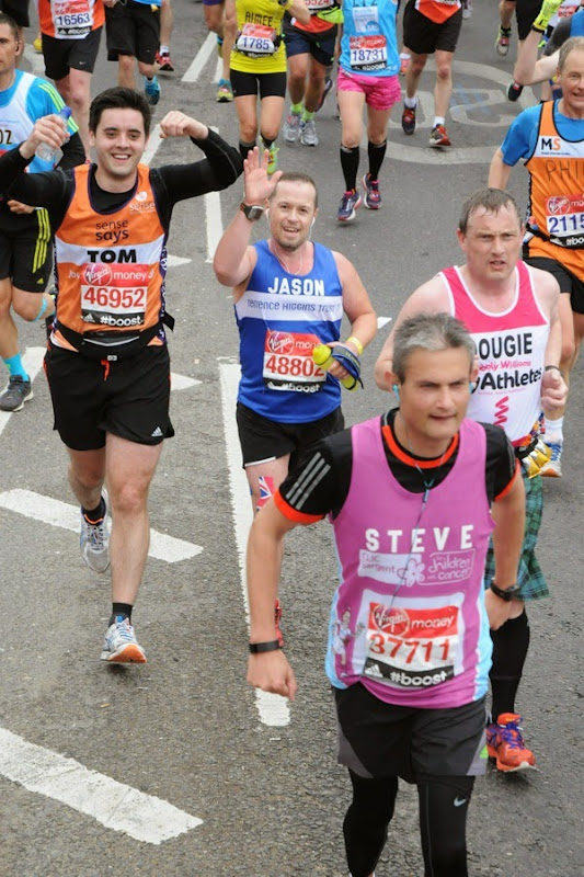 Running over Tower Bridge 2015 London Marathon