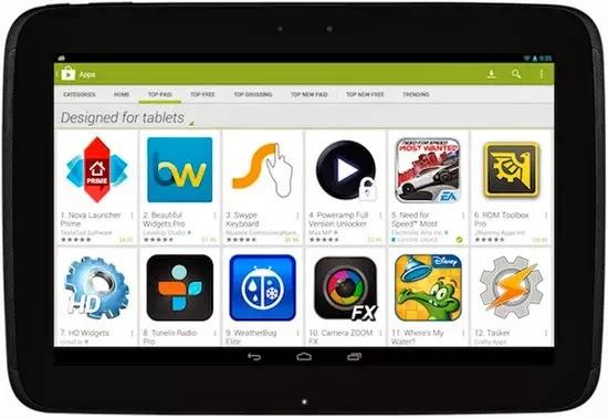 Google Play ya diferencia las aplicaciones específicas para Tabletas