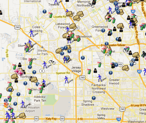 Harris County TX Crime Data On SpotCrime SpotCrime The - Houston map crime rate