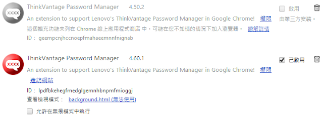 Install Chrome ThinkVantage Password Manager 4.6