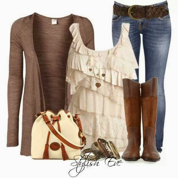 Amazing grey cardigan, blouse, jeans, long boots and hand bag for fall