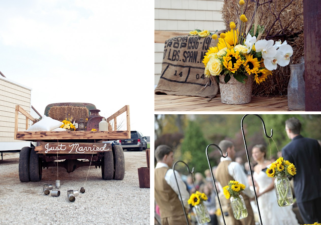 Decoración de boda rústica con girasoles