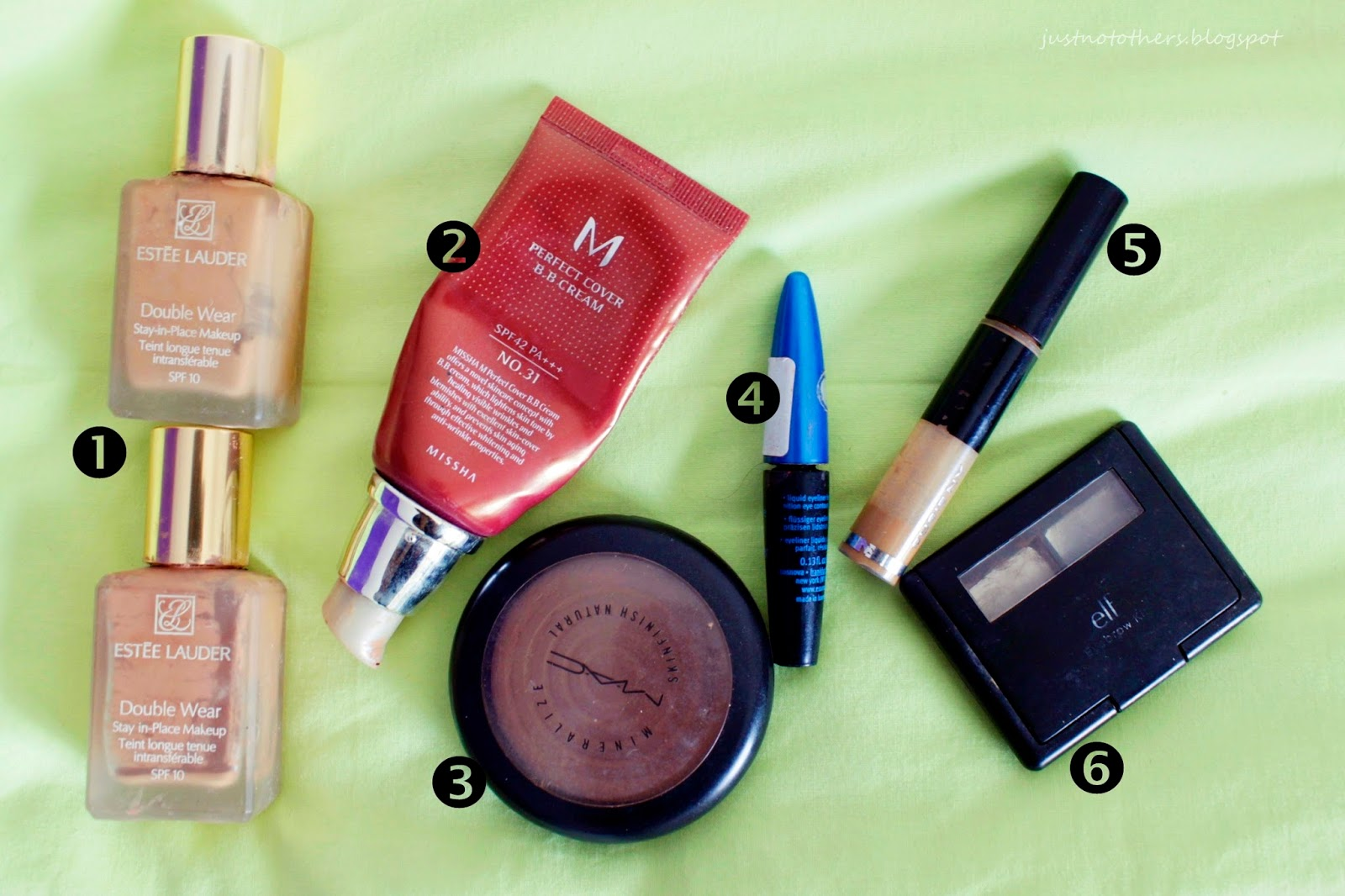 Estee Lauder Double Wear 3N1, 4C1, Missha Perfect Cover BB Cream no 31, Mac MSF Dark, Susie N.Y., Essence Liquid Liner, ELF Eyebrow kit