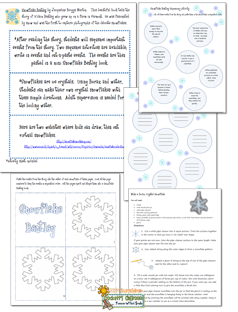 Snowflake Bentley activity pages, free sample from Crockett's Classroom on Hello Sunshine Teachers