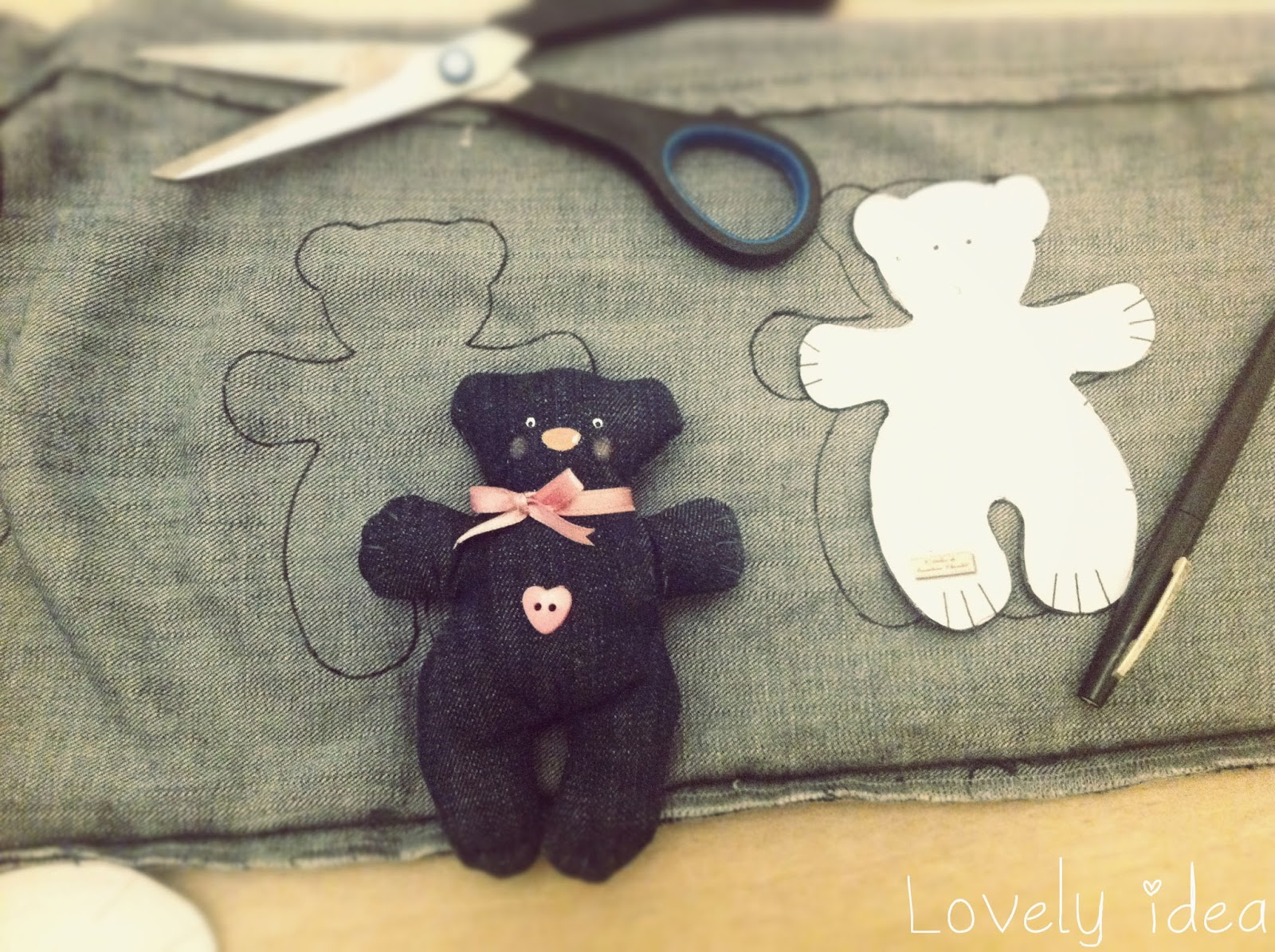 diy denim teddy bear