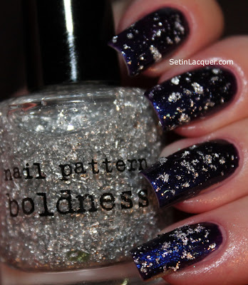 Nail Pattern Boldness Tin Man silver flake topcoat over Venique Wrapped in Jewels.