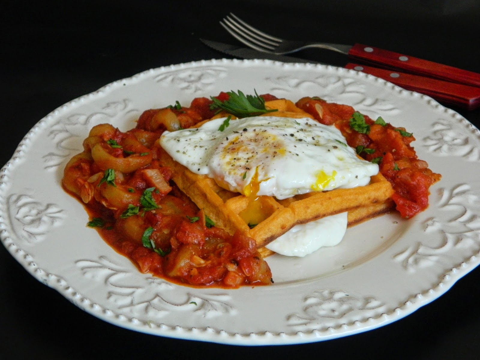 Waffle picante cu ratatouille
