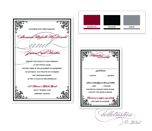 printable diy red black silver wedding invitation design