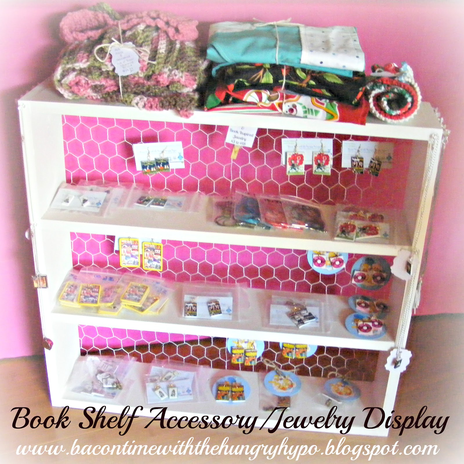 Bacon time with the hungry hypo book shelf accessory for Jewelry displays for craft fairs