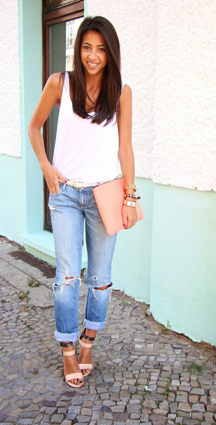 Simple look for #summer with #ripped denim, a minimal white tank, clutch and high heeled sandals ♡
