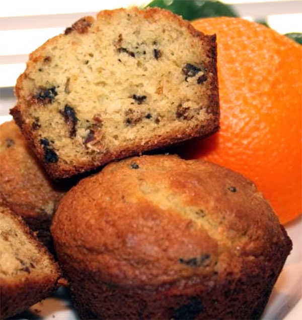 Fig and Orange Yoghurt Muffins: Breakfast muffins flavoured with orange zest and orange yoghurt that contain chopped figs in the batter
