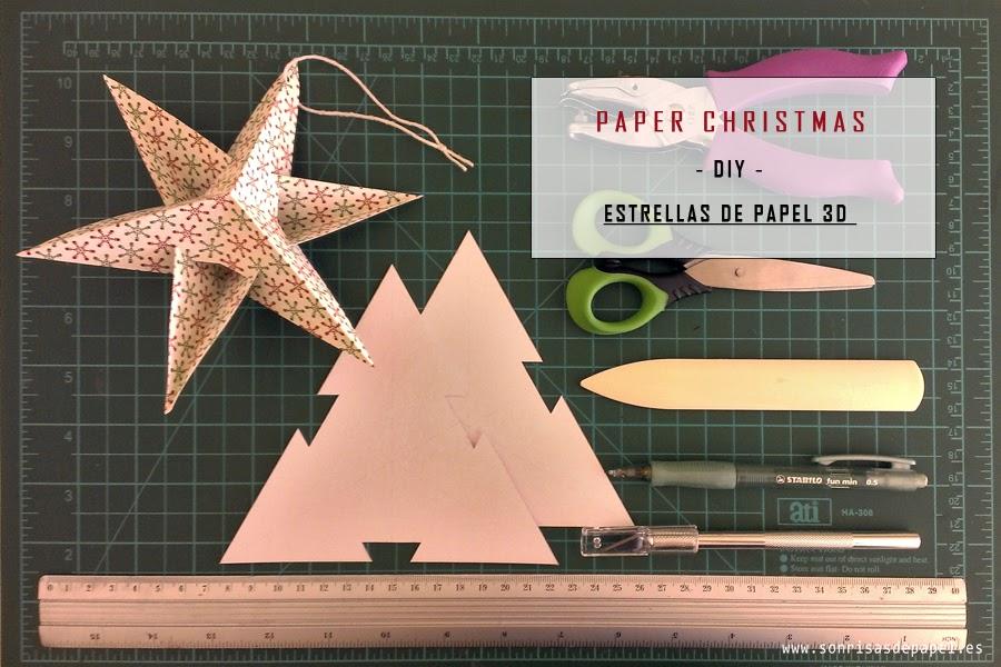Sonrisas de papel diy estrellas de papel adornos - Plantillas adornos navidenos ...