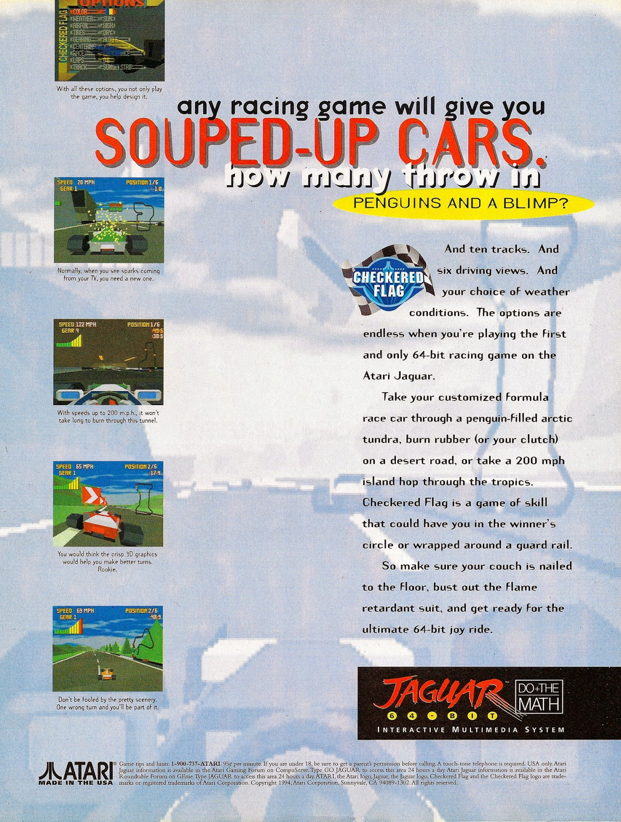 Advertisement For Checkered Flag For The Atari Jaguar From The November  1994 Issue Of EGM 2.