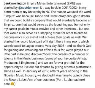 Banky Instagram post
