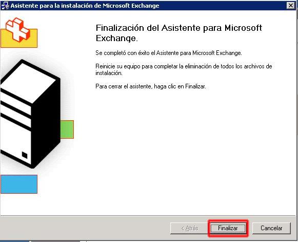 Finalización del Asistente para la instalación de Microsoft Exchange.