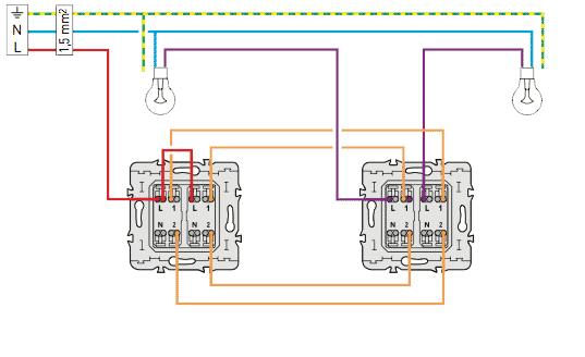 Sch ma lectrique du double va et vient sch mas lectriques - Branchement electrique interrupteur va et vient ...
