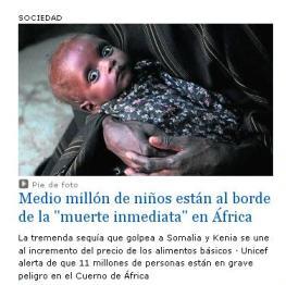 MEDIO MILLÓN DE NIÑOS AL BORDE DE LA MUERTE.