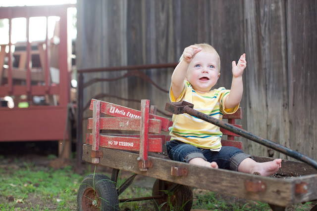 one year old antique radio flyer wagon
