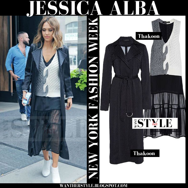 Jessica Alba in black polka dot print trench coat and combo sweater sheer skirt dress thakoon nyfw streetstyle front row 2015