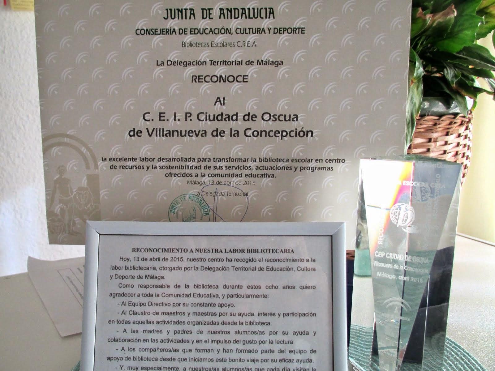 RECONOCIMIENTO DE LA JUNTA DE ANDALUCÍA A NUESTRA LABOR BIBLIOTECARIA