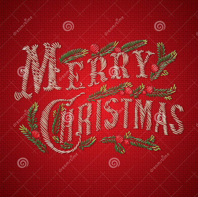 embroidered merry christmas card vector eps image