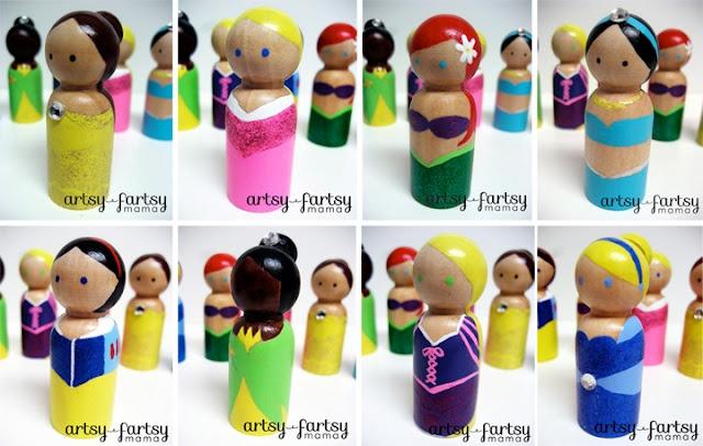http://www.artsyfartsymama.com/2012/02/princess-peg-dolls.html