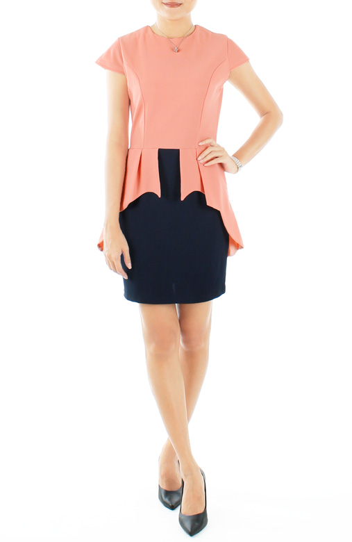 Pink Diamond Cascade Pleat Peplum Dress
