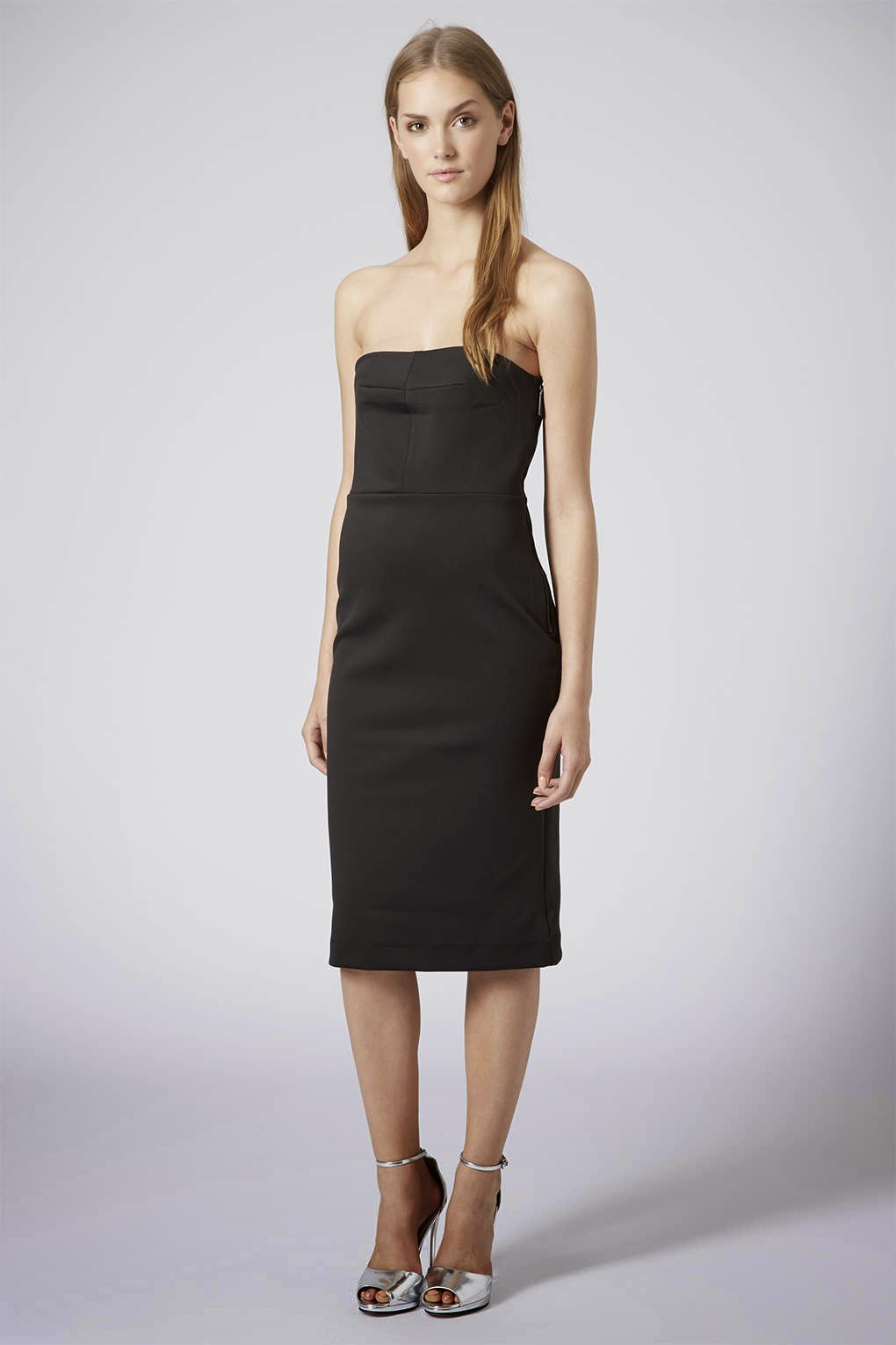 black midi bandeau dress