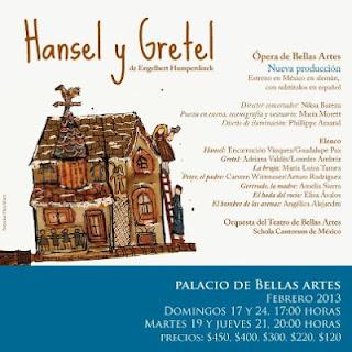 La ópera Hänsel y Gretel se presenta en el Palacio de Bellas Artes durante Febrero