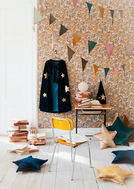 habitacion infantil vintage con flores