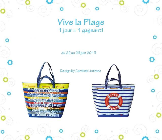 """8 sacs de plage """"Vive la plage"""""""