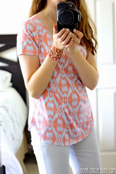 Stitch Fix Elaine Ikat Print Pocket Front Knit Shirt from Market and Spruce paired with Broken in Straight crop pants from the Gap
