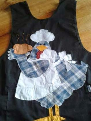 avental de galinha em patchwork