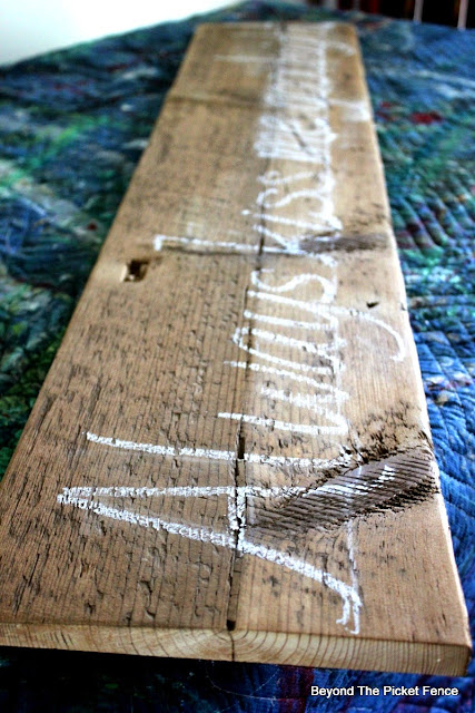 barn wood, salvaged sign, reclaimed, hand lettered, bedroom decor, http://bec4-beyondthepicketfence.blogspot.com/2015/05/always-kiss-me-sign.html