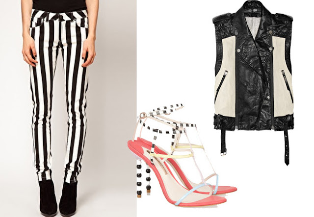striped trousers, black white leather waistcoast