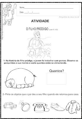 Atividade bíblica infantil - o filho pródigo