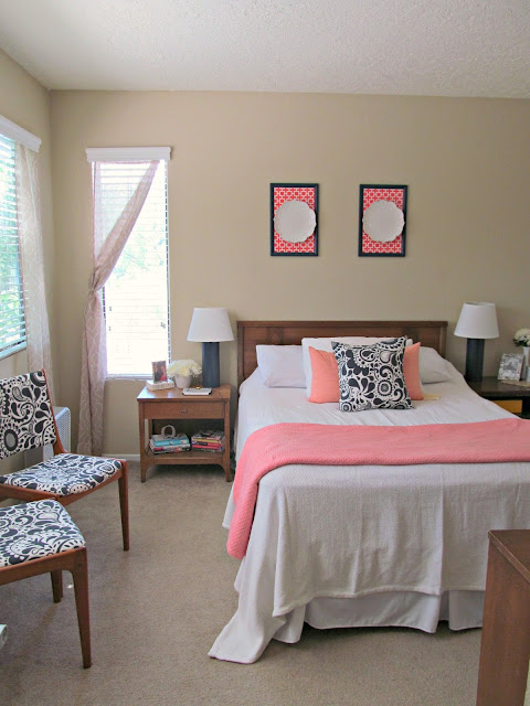 Get the Look: How to Decorate a Coral, Navy, and White Bedroom for $300! Great tips on decorating on a budget!