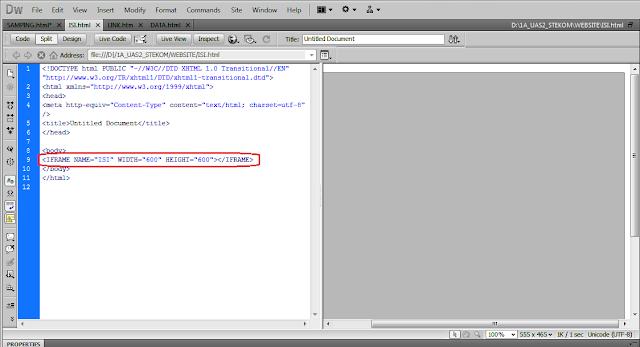Koreksi pengkodean HTML Iframe di Dreamwever bagian Iframe | www.noterian.blogspot.com