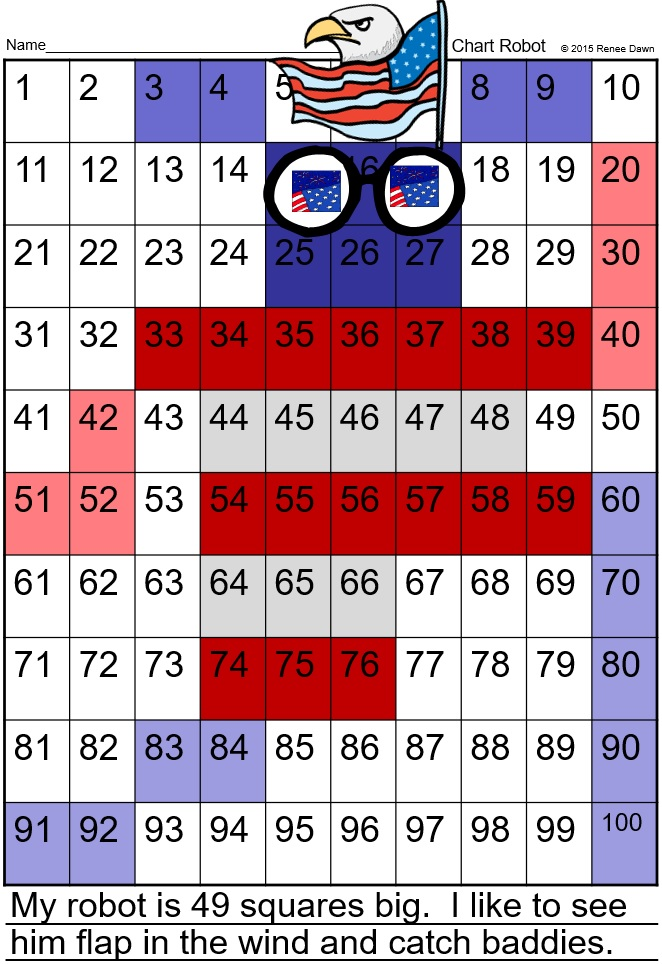 Number Chart Robots 1 - 100