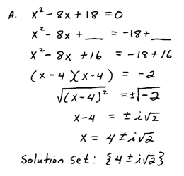 solve by completing the square b solve using the quadratic formula