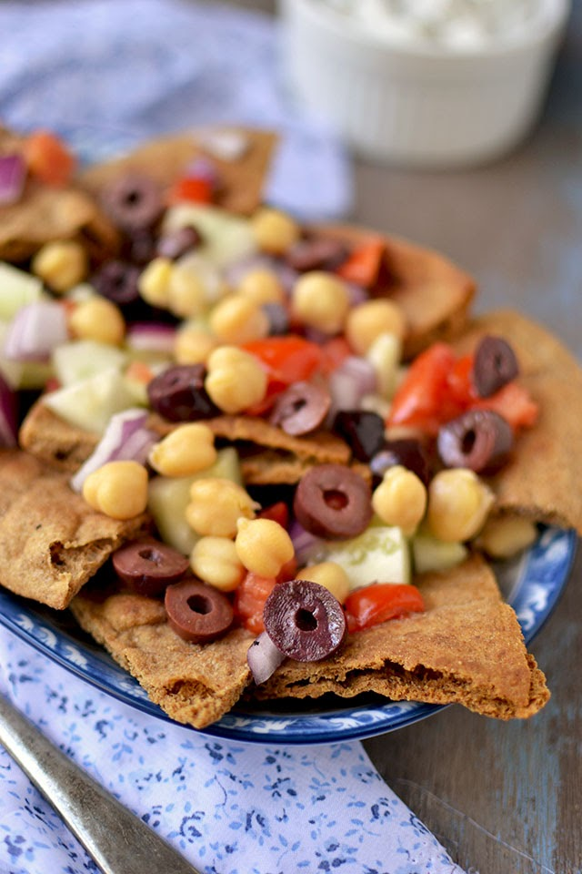 Vegetarian Greek Nachos