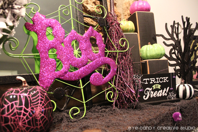 BOO sign, spider web, decorated halloween mantel, trick or treat sign