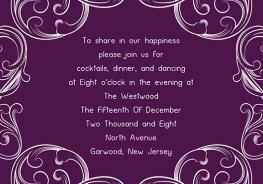 Purple Wedding Invitation Card