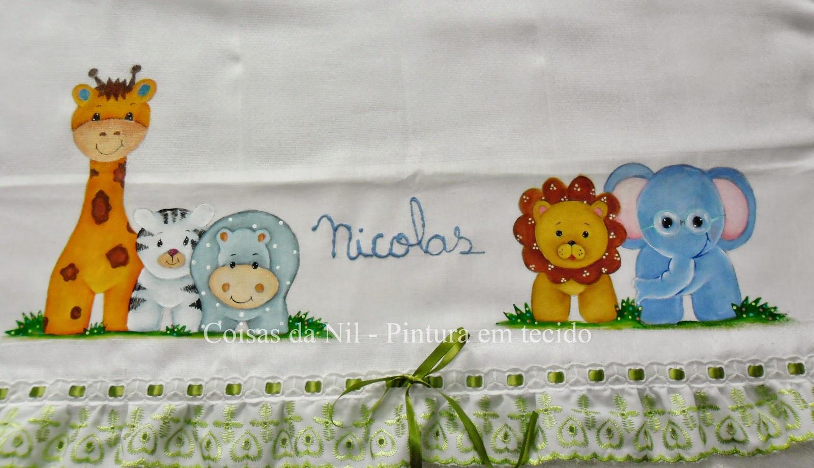 pintura em tecido fralda para menino com tema de safari