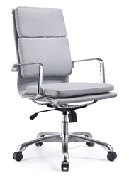 Gray Leather Hendrix High Back Chair