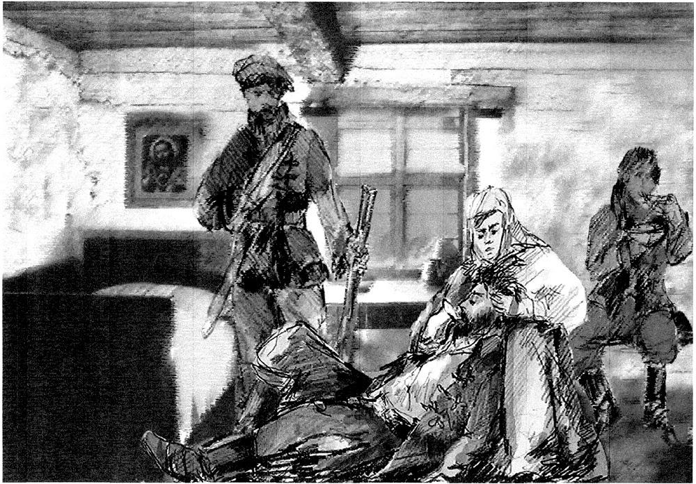 Grzybów Stary k. Stąporkowa. Legenda drewnianego krzyża: Potem rodzice zajęli się rannym. Mama porozcinała grube sukienne spodnie rannego, aby przemyć i zaopatrzyć ranę, z której sączyła się krew... Rysunek (technika łączona) Adam Kubka.