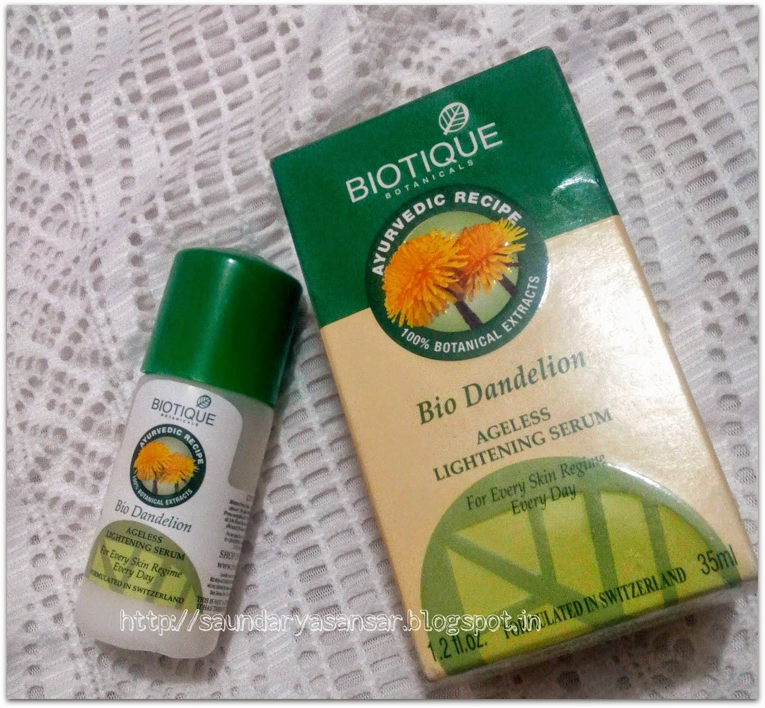 Biotique Botanicals Bio Dandelion Ageless Lightening Serum Review