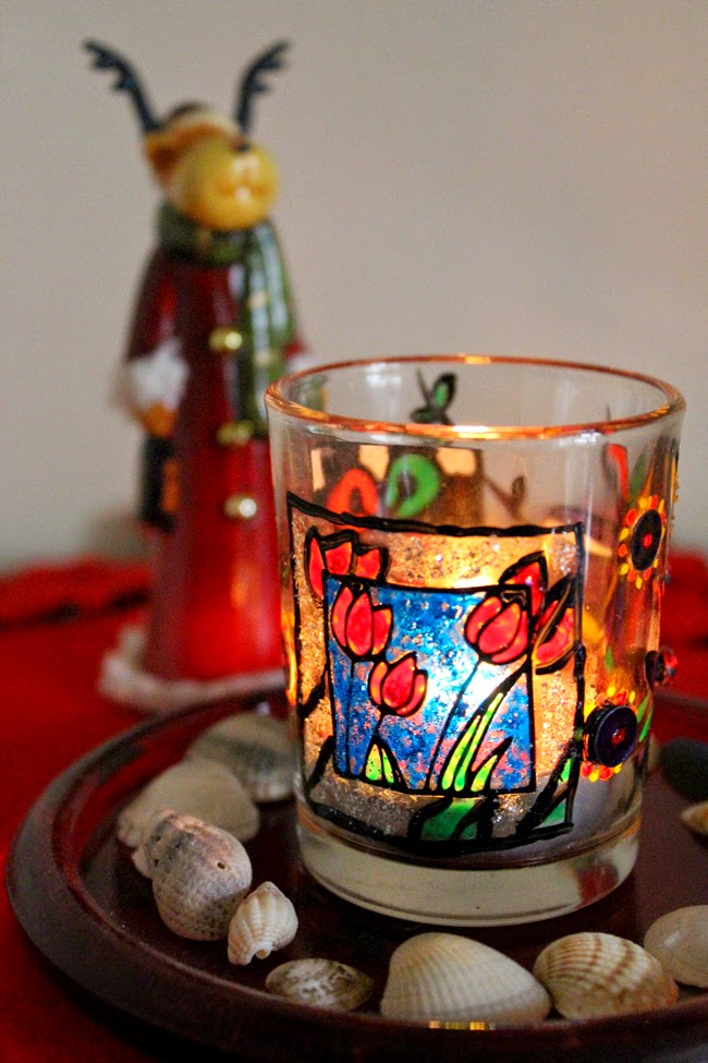 beautiful glassware, glass painting, christmas art project, todaymyway.com