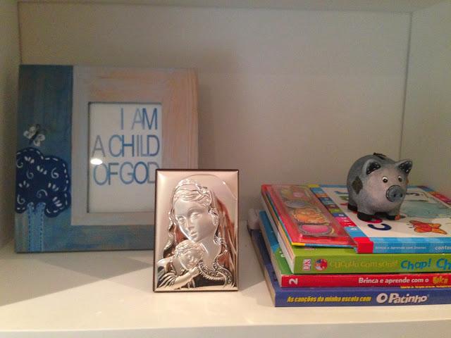 Shelves decor @Blue and beige stripes boy's bedroom
