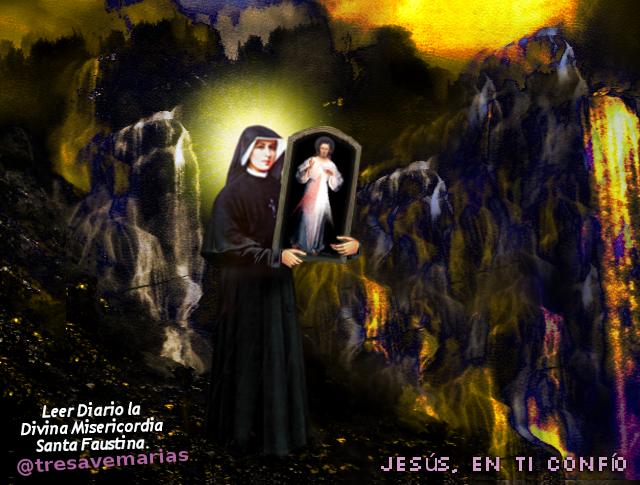 santa faustina con el cuadro de la misericordia divina